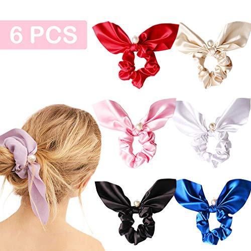 (6PCS Hair Scrunchies Silk Rabbit Bunny Ear Bow Bowknot Scrunchie Bobbles Elastic Hair Ties Bands Ponytail Holder for Women)