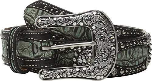 Ariat Women's Gator Print Leather Belt Green Small (Green Leather Silver)