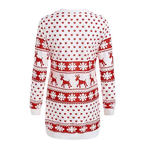 vestiti donna abiti delle Stampare cerimonia Bianca abiti Natale Mini elegante da lungo vestito vestito donne donna Manica cerimonia CLOOM Natale donna lunga 8qx5tnfwO