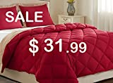 downluxe Lightweight Solid Comforter Set (King) with 2 Pillow Shams - 3-Piece Set - Red and Tan - Hypoallergenic Down Alternative Reversible Comforter by