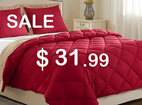 downluxe compact sturdy Comforter Set (King) by using 2 Pillow Shams - 3-Piece Set - Red and Tan - Hypoallergenic downward option reversible Comforter by