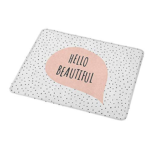 Gaming Mouse Pad Custom Hello,Romantic and Motivational Message in a Pastel Colored Speech Balloon Hand Drawn Dots,Blush Black,Non-Slip Personalized Rectangle Mouse pad 9.8
