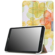 MoKo Samsung Galaxy Tab E 8.0 Case - Ultra Lightweight Slim-shell Stand Cover Case for Samsung Galaxy Tab E 8.0 Inch SM-T377 4G LTE Verizon / Sprint Tablet, Floral GREEN