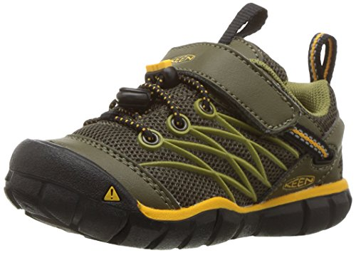 Keen Kids' Chandler CNX Hiking Shoe, Dark Olive/Citrus, 1 Youth US Big - 300 Ctr