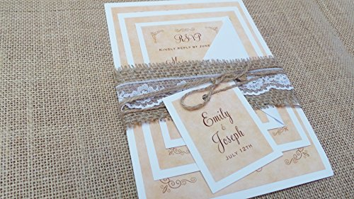 100 Wedding Invitations Rustic Country Vintage Style Twine Burlap Lace + Envelopes + Response Cards Set by Pink The Cat