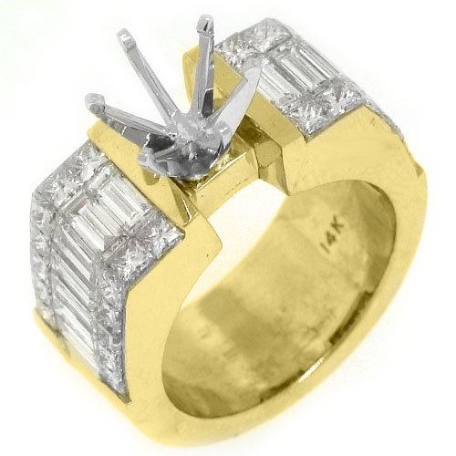 14k Yellow Gold Princess Baguette Diamond Engagement Ring Semi Mount 3.56 Carats