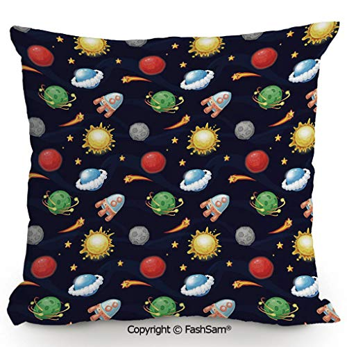FashSam Home Super Soft Throw Pillow Cartoon Style Cosmos Themed Illustration Sun with Stars Planets and Space Rocket Decorative for Sofa Couch or Bed(16