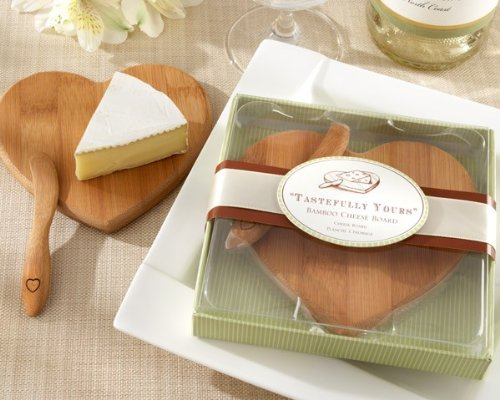 ''Tastefully Yours'' Heart-Shaped Bamboo Cheese Board [Set of 96] by Kateaspen
