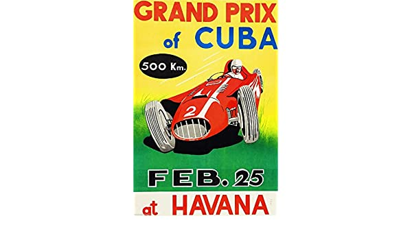 1958 Havana Cuba Grand Prix Automobile Race Car Advertisement Vintage Poster