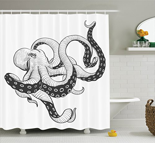 Ambesonne Octopus Decor Collection, Octopus Vintage Style Illustration Kraken Sea Creature with Tentacles Nautical Decor, Polyester Fabric Bathroom Shower Curtain Set with Hooks, White Black (Kraken Gifts)