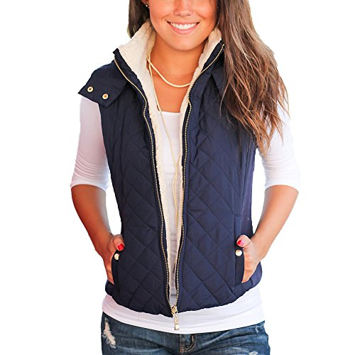 Idgreatim Juniors Navy Blue Jacket Winter Loose Casual Side Pockets Down Vest Coats