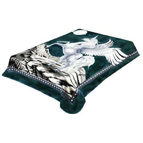 Vivalonユニコーンネイビー厚ミンク韓国スタイルPlush Kingサイズ毛布 – by Solaron B00PQ6I24E