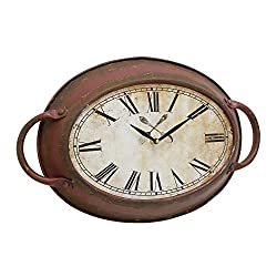 Stonebriar SB-6075A High Plains Red Rust Metal Oval Wall Clock