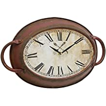Stonebriar Rustic Farmhouse Oval Metal Wall Clock with Red Rust Finish, Shabby Chic and DIY Home Decor Accents for the Kitchen, Living Room, and Bedroom, Battery Operated