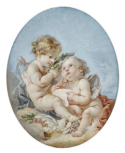 Oil painting ` Francois Boucher ( attributed to )–詩、18世紀`印刷ポリエステルキャンバスに、18x 22インチ/ 46x 56cm、The Bestロビー装飾装飾およびギフトは、このアート装飾プリントキャンバスの商品画像