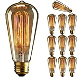 Perfectshow 10 Pack E26 Base 40w Vintage Edison Bulb Dimmable St64 Antique Incandescent Bulbs for Home Light Lamp Fixtures Decorative Glass 110v