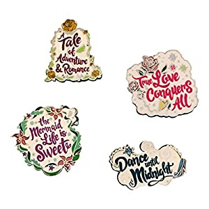 Disney 4 Pin Set of Princess Sayings, Multicolor, One Size
