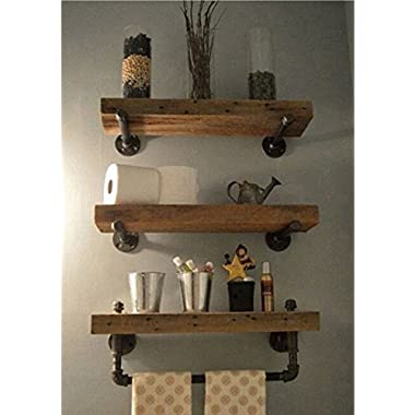WGX Design For You Industrial Pipe Shelving Shelves Bookcase Rustic Wood Metal Wall Mounted Towel Bar Hanging Storage Racks Floating Wood Shelves