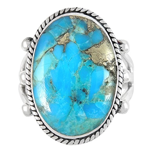 Turquoise Ring in Sterling Silver 925 & Genuine Turquoise Size 6 to 11 (8) by Turquoise Network (Image #2)