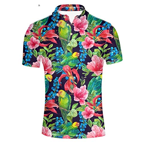 Pensura Men's Hawaiian Party Polo Shirt Floral Printing Short Sleeve Shirt