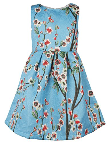 Ipuang Little Girls' Lovely Flower Pattern Dresses for Special Occasions 5 Light Blue ()