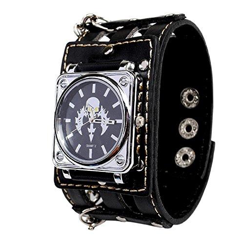 Punk Gothic Cross Design Ladies Women Men Genuine Leather Wrist Watch