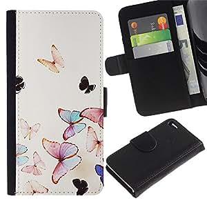A-type (Butterfly Watercolor Spring Flying Nature) Colorida Impresión Funda Cuero Monedero Caja Bolsa Cubierta Caja Piel Card Slots Para Apple Iphone 4 / 4S
