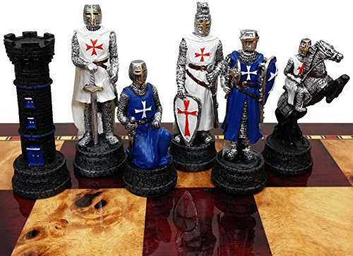 Medieval Times Crusades Knight Blue and White Set of Chess Men Pieces Hand Painted With Maltese Cross - no Board