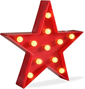 Pooqla DELICORE Marquee Light Star Shaped LED Plastic Sign-Lighted Marquee Star Sign Wall Décor Battery Operated (Red)