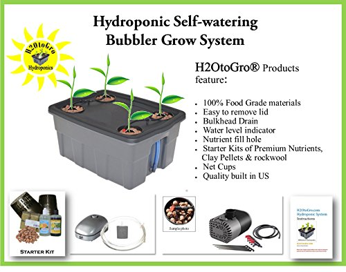 Complete Hydroponic System SELF-WATERING DWC Bubbler Kit # 4-4 H2OtoGro Review