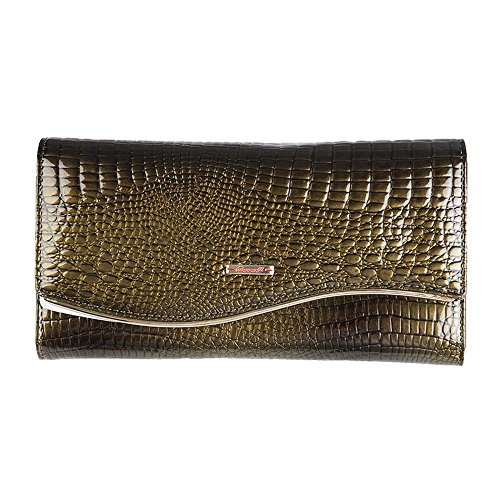 Penao Schöne Dame Mode Rindsleder Krokodil Muster Leder Brieftasche Hand Tasche 19cmx9.5cmx3.5cm Green SVyidvI