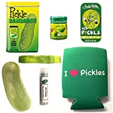 Deluxe Pickle Lovers Gift Pack (7pc Set) - Pickle Bandages, Lip Balm, Mints, Stress Toy, Can Cooler Insulator, Wristband & Dill Pickle Salt
