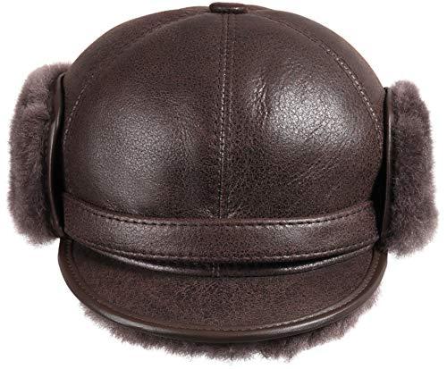 Zavelio Men's Shearling Sheepskin Elmer Fudd Pilot Visor Hat X-Large Cashmere