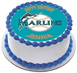 "Florida Marlins Edible Birthday Cake OR Cupcake Topper - 6"" round"