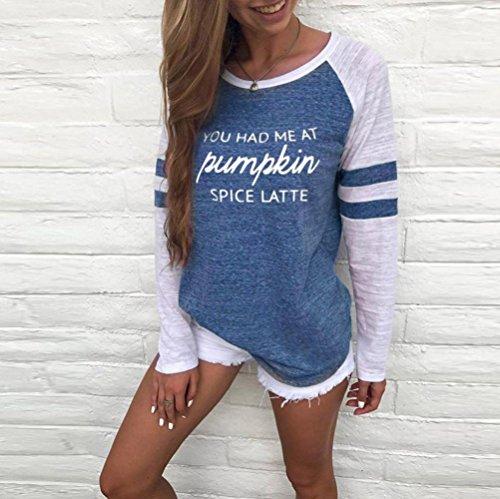 Amlaiworld Damen herbst Frühling Gemütlich Langarmshirt basic Mädchen bunt Flickwerk Oberteile mode elegant locker Bluse warm Casual lässig Tops shirt, Pumpkin Blau