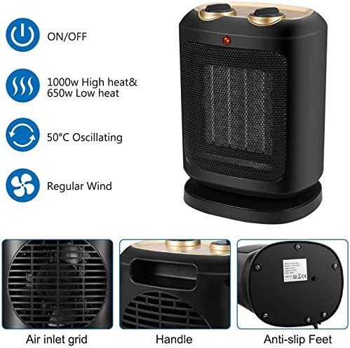 ZHWEI 回転機能付きヒーター、PTC 900W / 1800Wセラミックスペース電気ヒーターパーソナル扇風機 ポータブル