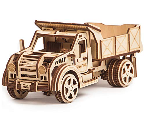 (Jeep Truck Model Kit, American Jeep Toy Truck w/ Functional Moving Body - 3D Wooden Puzzle, Assembly Toys, ECO Wooden Toys, Best DIY Toy - STEM Toys for Boys and Girls)