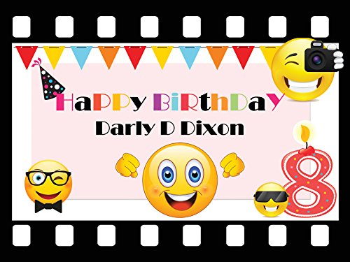 Custom Home Décor Movie Emoji Birthday Poster for Kids - Size 24x36, 48x24, 48x36; Personalized Candle Number and Emoji Happy Birthday Banner Wall Decor; Handmade Party Supply Poster Print