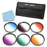 58MM Graduated Color Filter Kit, K&F Concept Orange Blue Grey Red Purple Green Filters Set For Canon Rebel T5i T4i T3i T2i T1i T3 XSi XS EOS 7D 60D 350D 1100D 650D 600D 18-55mm Digital SLR Cameras Lenses + Cleaning Cloth + Filter Bag