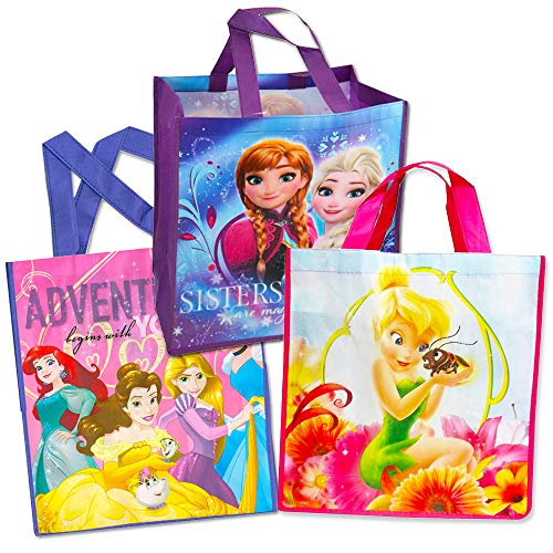 Disney Princess Tote Bags Value Pack -- 3 Reusable Tote Party Bags (Featuring Cinderella, Belle, Snow White and More) -