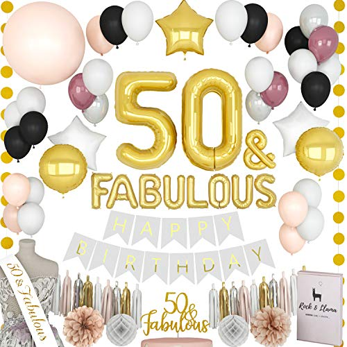 FABULOUS 50th Birthday Decorations + (50 SASH) + (FABULOUS Letter Balloons) + (Cake Topper) | Gold Black Burgundy Fifty Bday Party Supplies for Women | (71+ Items) -