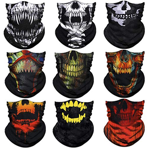 NTBOKW Headwear Seamless Bandana Headband Face Mask for Sun Dust Wind Protection Mask for Riding Motorcycle Cycling Fishing Hunting Summer Breathable Tube Mask for Men Women, 4/6 / 9 Packs