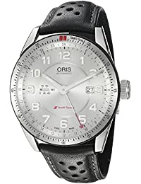 Mens Audi Swiss Automatic Stainless Steel and Leather Casual Watch, Color Black (. Oris