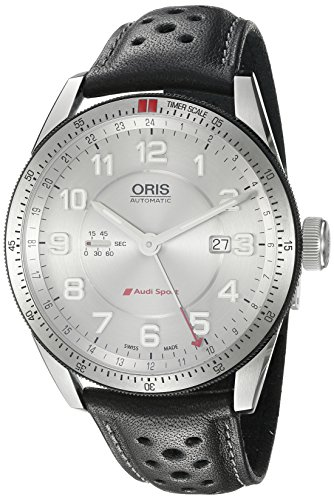 Oris-Mens-Audi-Swiss-Automatic-Stainless-Steel-and-Leather-Casual-Watch-ColorBlack-Model-74777014461LS