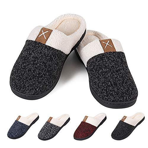 Men's Warm Slippers Women's House Shoes Memory Foam Cozy Cotton Plush Fleece Lining Slip-on Home Shoes Indoor & Outdoor(Pure Black, 42/43) (The Best Foot Warmers)