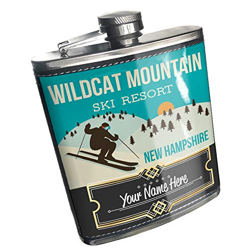 Neonblond Flask Wildcat Mountain Ski Resort - New Hampshire Ski Resort Custom Name Stainless Steel (Ski Wildcat)