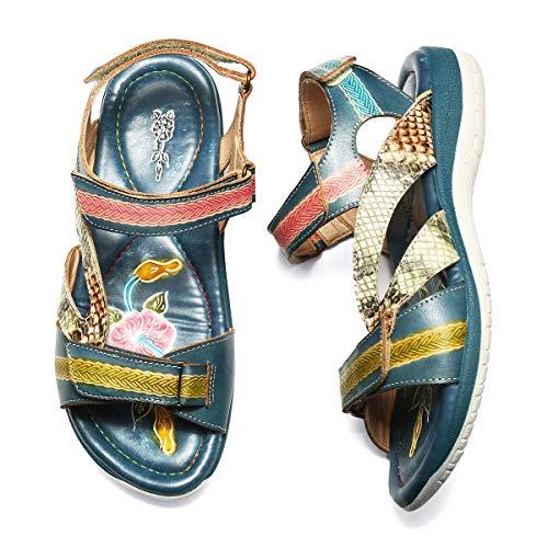 Pieds Plats Marron Chaussures Bleu Randonnée Trekking Sports De Sacrath Sandales À Femmes En Confortables Pour Marche Plates Azur Larges Été Réglable Gracosy Talons Cuir 1qBZH0xww