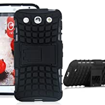 JKase DIABLO Series Tough Rugged Dual Layer Protection Case Cover with Build in Stand for LG Optimus G Pro E980 - Retail Packaging - Black