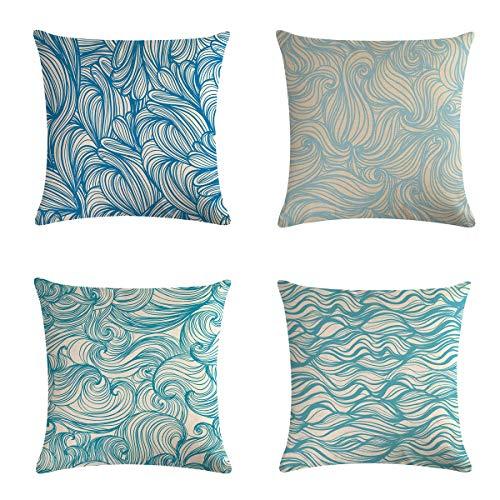 XIECCX Throw Pillow Covers Decorative Pillowcases 4 Pack - Soft Linen Cotton Design Cushion Cover for Sofa,Bedroom,Chair,Car Seat,Farmhouse 18 x 18(Blue Wave)