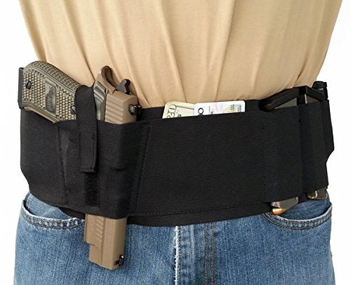 Hidden Heat 5 XL Men's Belly Band Tactical Concealed Carry Gun Holster - Waistband Holster, Right and Left Draw for Pistols & Revolvers - Fits up to a Full Size Glock, Beretta, Sig Sauer Most Pistols
